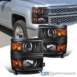 For 14-15 Chevy Silverado 1500 Matte Black Projector Headlights w/ Corner Lamps