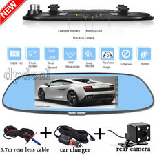 7 Inch HD 1080P Dual Lens Gravity Sensor Dash Cam Rearview Mirror Car Camera DVR