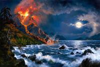 Moonlight lava scene Giclee Art Oil painting printed on canvas L3054