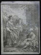 Dessin ancien à la mine de plomb et craie noire mythologie Minerve et Ulysse ?