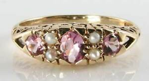 CLASS 9CT GOLD VINTAGE INS PINK TOURMALINE & PEARL RING FREE RESIZE
