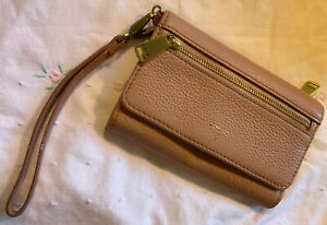 FOSSIL soft blush Pink 100% leather Purse clutch wallet