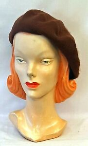 Mid Brown  100% Pure New Wool Timeless Classic 1930's 1940's Vintage style Beret