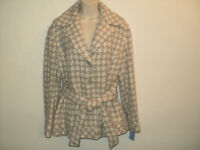 NEW Sigrid Olsen Size L LARGE Jacket Wool/Acrylic Blend Tan & Gray Tweed Lined