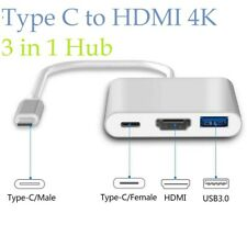 Type C to HDMI 4K USB 3 in 1 Hub Adapter Cable For Apple Macbook Samsung Huawei