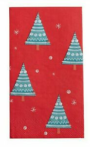 32ct Christmas Tree Print Paper Guest Hand Towels Napkins Buffet 3ply Red NIP