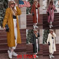 Women Hooded Sweater Long Cardigan Solid Casual Coat Open Front Knitting Outwear