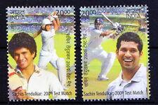 India MNH 2v, Sachin Tendulkar, Cricket, Sports -F1
