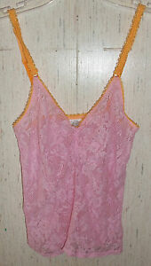 NEW WOMENS / JUNIORS Calvin Klein LACY PINK CAMISOLE / TANK TOP   SIZE  M