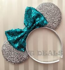 NEW! Minnie Mickey Mouse Ears Headband Shiny Silver Sparkly Sequin Teal Blue Bow