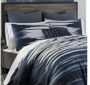New Izi Shibori Indigo Print Duvet Cover Shams Set 3pc Blue White Full Queen
