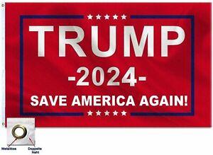Premium 3x5FT 2024 Donald Trump Save America Again Flag Red MAGA Patriot USA