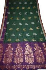 Vintage Embroidred Green Saree Pure Silk Peacock Work Fabric Sari Design Materia