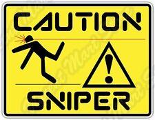 "Caution Sniper Killer Assassin Kill Funny Car Bumper Vinyl Sticker Decal 5""X4"""