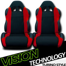 TS Sport Blk/Red Cloth Fabric Reclinable Racing Bucket Seats w/Sliders Pair V07