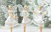 GISELA GRAHAM CHRISTMAS WHITE WINTER MIDNIGHT GLADE RESIN FAIRY DECORATION