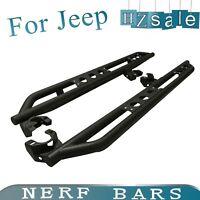 For 2007-2018 Jeep Wrangler JK Unlimited 4 Door Black Armor Side Steps Nerf Bars
