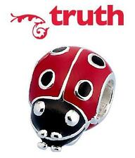 Genuine TRUTH PK 925 sterling silver LADYBIRD ladybug charm bead, summer flowers