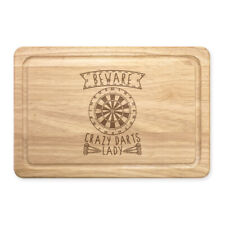 Beware Crazy Darts Lady Rectangular Wooden Chopping Board - Funny Mothers Day