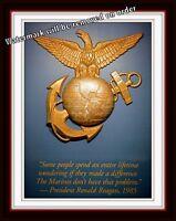 Photograph USMC / US Marine Corps Parris Island EGA Reagan Quote 8x10