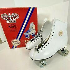 Vtg Roller Derby STREET KING Shoe Roller Skates Metal Wheels - White Sz 6 - NEW!