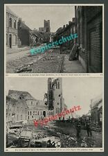 orig Fotodruck Passchendaele Zonnebeke Straße Ruinen Flandern Ypern Belgien 1915