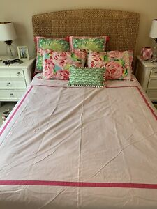 New Full/Queen Pottery Barn Teen Suite Duvet Cover Pink Magenta Lilly Pulitzer