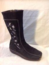 Tamaris Black Mid Calf Suede Boots Size 37
