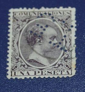 SPAIN, USED STAMP TELEGRAPHS 1 PESETA T5 (1889)- KING ALFONSO XIII