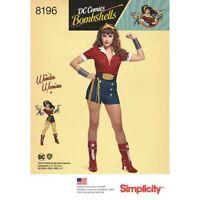 Simplicity Pattern 8196 Misses' D.C. Comics Bombshells Wonder Woman  H5 6 - 14