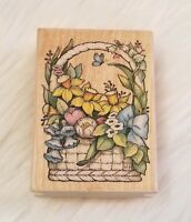 Spring Bouquet 468H Rubber Stamp All Night Media Floral Wood Mounted NEW