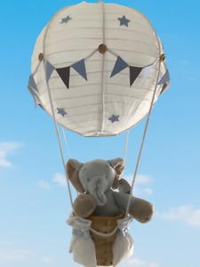 Elephant in a Hot air balloon nursery Decoration / light shade, Blue /Grey
