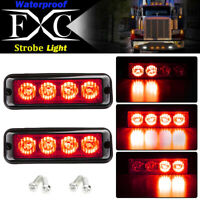 2X Red 4 LED Car Truck Emergency Beacon Warning Hazard Flash Strobe Light 12-24V