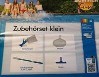 SummerFun Poolpflege-Set Starterkit Bodensauger Kescher Teleskopstange Bürste