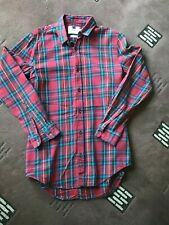 "TOPMAN checked shirt multicoloured uk S 36-38"" longline cotton used"