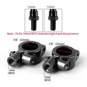 "Universal Motorcycle Handle Bar Mirror Mount Holder Clamp Adaptor 7/8""Black 10mm"
