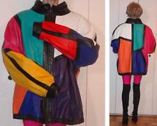 KRIEGSMAN FURS GEOMETRIC ABSTRACT MULTICOLOR LEATHER BLAZER JACKET ART DESIGN 3X
