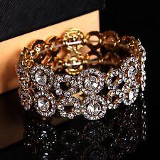 Accesorios nupciales Pulsera Crystal Diamantes Rhinestones elástico Fitness Oro