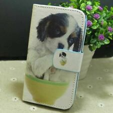 1x Dog in Cup Wallet Card Holder Flip TPU Case Cover for Various Smart Phone
