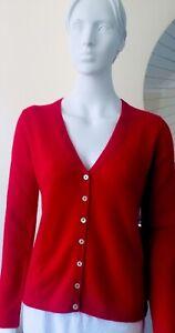 100% Cashmere Cardigan V Neck Red Vast Land BNWT Size L