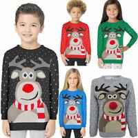 Boys Girls Christmas Jumper Xmas Kids Sweater Rudolph Pom Pom Novelty Pullover