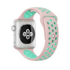 Apple Watch 44mm /  42mm  klassisches Silikon Sport Uhrenarmband (Pink Green)
