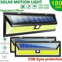 180 COB LED PIR Motion Sensor Solar Power Wall Light Security Garden Outdoor