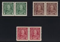 Canada Sc #228-30 (1935) King George V Pictorial COIL PAIR Set Mint VF H
