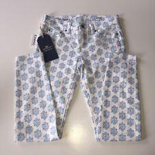 Vineyard Vines White Skinny Jeans Medallion Print Blue Jay Sz 2 NWT Retail $98