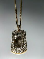 Iced Diamond Dog Tag Pendant Gold 14k Chain Necklace Bling Icy Shine