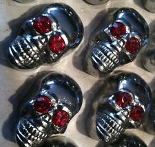 SKULL RED EYES COMPLETE SHEET OF 4 DRESS UP LICENSE PLATE BOLTS HARLEY DAVIDSON