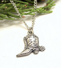 HORSE & WESTERN JEWELLERY JEWELRY LADIES WESTERN BOOT NECKLACE SILVER PEWTER