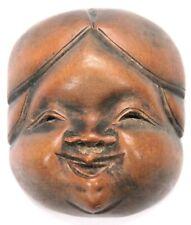 Antique Japanese Edo Period Wooden Netsuke Mennetsuke Okame Otafuku Mask Woman