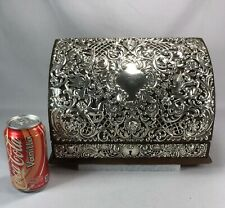 Gorgeous 19th Century Sterling Silver & Wood Secretary Desk Box Howard Co NY